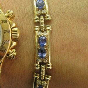 Jewelry - Natural Tanzanite Diamond Yellow Gold 14Kt Tennis
